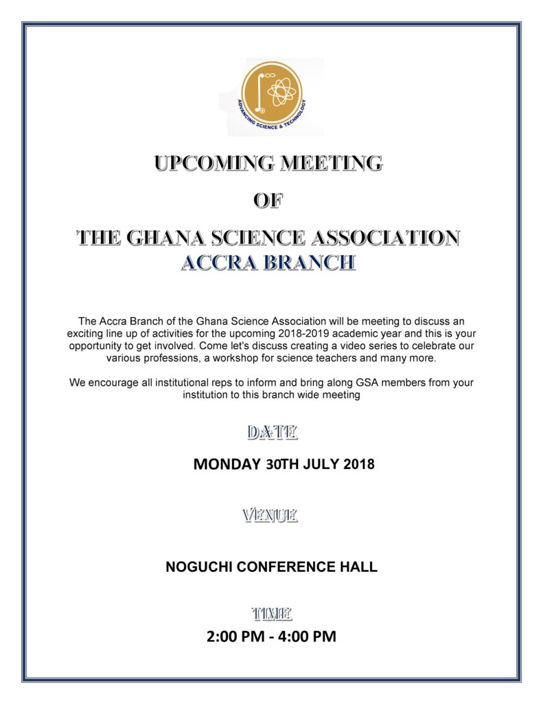 Upcoming Meeting of the GSA Accra Branch